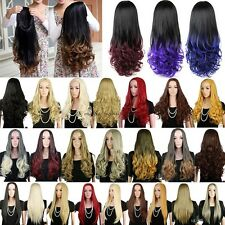 Women Half Wig Long Curly Straight 3/4 Full Wig Hairpieces Cosplay Party Black G