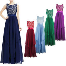 Women Chiffon Lace Floral Long Maxi Dress Evening Party Cocktail Wedding Gown