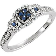 Blue Sapphire and 0.06 CTW Diamond Ring Sterling Silver
