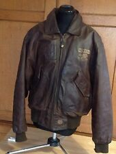 Nickelson Workwear,  Brown Leather Bomber Jacket, Size Large