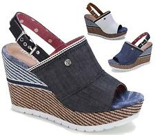 Ladies High Wedge Sandals Peeptoe Denim Slingback Buckle Summer Beach Shoes
