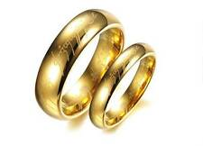 """Lord of the Rings Hobbits """"The One Ring"""" LOTR Tungsten Gold Wedding Lover's Ring"""