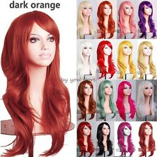 Long Curly Layer Synthetic Hair Full Wig Cosplay Party Fancy Dress Adjustable C4