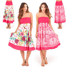 Pistachio Womens Rose Or Paisley 2 in 1 Ladies New Summer Bandeau Dress Or Skirt