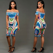 Women Sexy Off Shoulder Print Bodycon Evening Party Cocktail Short Mini Dress
