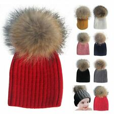 Autumn Winter Child Baby Knit Soft Warm Raccoon Fur Bobble Caps Crochet Ski Hats