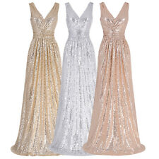 Sexy Gold Sequined Formal Wedding Prom Party Bridesmaid Evening Ballgown Dresses