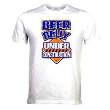 BEER BELLY UNDER CONSTRUCTION - MENS COMEDY, FUNNY T-SHIRTS CUSTOM T SHIRT BLUE
