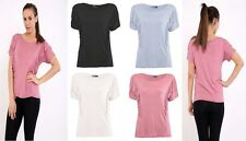 Womens Ladies Short Sleeve Pleated Ruffle Frill Detail T Shirt Top Size UK 8-26