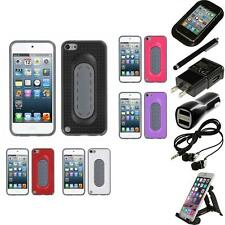 For Apple iPod Touch 5th 6th Gen Hybrid Toungue Kickstand Impact Case Bundle