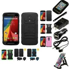 For Motorola Moto G 2nd Gen Hybrid IMPACT Hard TUFF Hybrid Case Cover Bundle