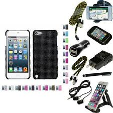 For iPod Touch 5th 6th Gen Diamond Diamante Bling Rhinestone Case Cover + Bundle