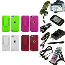 For iPod Touch 5th 6th Gen Hard Holster Belt Clip 2-Piece Case Cover + Bundle