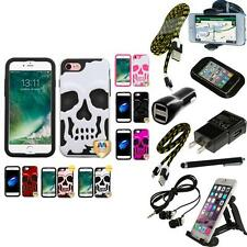 For iPhone 7 [4.7] Hybrid Skull Skeleton Impact Hard Soft Case Cover + Bundle