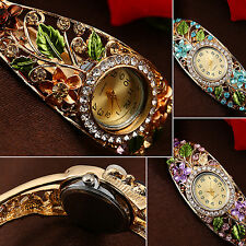 Women's Lady Crystal Colored Flower Bangle Bracelet Watch Analog Quartz Mirable