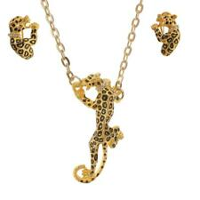 Silver Gold Tone Leopard Panther Animal Necklace Earrings Set Statement Jewelry