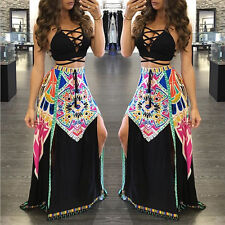 Women Sexy Halter Bodycon Backless National Print Party Clubwear Casual Dress
