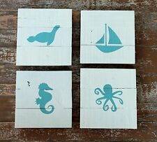 Nautical Nursery Wall Art Decor Rustic Beach Silhouette Fish Sea Turtle Whale