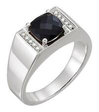 Onyx and 1/10 CTW Diamond Ring Sterling Silver