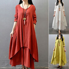 Womens Ethnic Boho Linen Summer Loose Long Sleeve Maxi Dress Gypsy Blouse Shirt