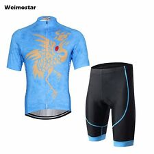 WEIMOSTAR Mens Wear Cycling Clothing Suit Bicycle Jerseys & Bib Shorts Sets Blue