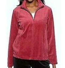 NEW Red Kim Rogers Womens Cozy Velour Zipper Long Sleeve Jacket Coat Size M L