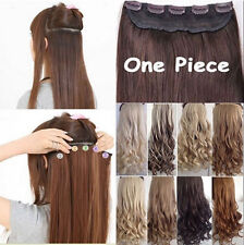 UK Real Long Clip in Hair Extensions One PCS Half Full Head Straight Curly 5clip