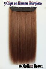 150g Medium Brown 5Clips On One Hairpieces Clip In Real Human Hair Extensions