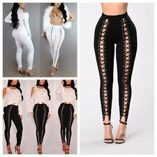 Sexy Womens Metal Eyelets Lace Up Leggings Punk Pencil Pants Long Tight Trousers