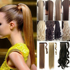 Long Clip in Ponytail Hair Extensions Wrap Around on Hairpiece Curly Straight BB