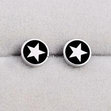 Round Barbell 361L Stainless Steel Men's Earring Punk Gothic Ear Studs
