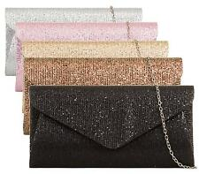 Ladies Glitter Party Prom Bridal Evening Clutch Envelope Purse Handbag