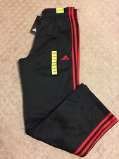 NWT ADIDAS BOYS FLEECE LINED BLACK WITH RED STRIPES ATHLETIC PANTS, SZ M 10/12