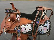 15 16 BARREL RACING PURPLE PINK SHOW TRAIL PLEASURE LEATHER WESTERN HORSE SADDLE