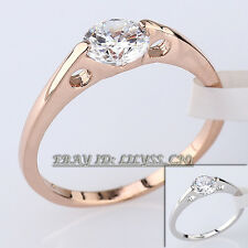 A1-R013 Fashion Solitaire Engagement Ring 18KGP CZ Rhinestone Crystal Size 5.5-9