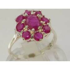 Ladies Solid UK Hallmarked Sterling Silver Natural Genuine Ruby Cluster Ring