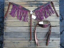 WESTERN HEADSTALL BREAST COLLAR PINK FRINGE SHOW INLAY HORSE LEATHER BRIDLE TACK