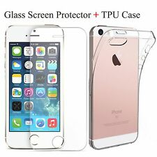 Ultra Thin Silicone Gel Case Cover & Tempered Glass Screen Protector For iPhones
