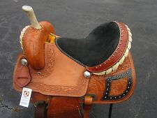15 16 BARREL RACING SHOW BROWN GATOR TRAIL PLEASURE LEATHER WESTERN HORSE SADDLE
