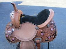15 16 PINK SILVER SHOW BARREL RACING PLEASURE TRAIL LEATHER WESTERN HORSE SADDLE