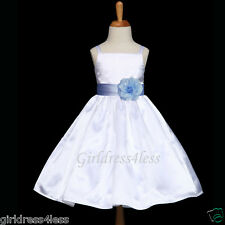 WHITE/SKY BLUE SPAGHETTI STRAPS RECITAL FLOWER GIRL DRESS 12M 18M 2 4 6 8 10 12