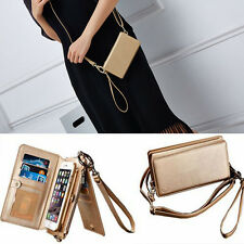 New Multifunction Leather Strap Zipper Wallet Card Slots Phone Cases For iPhone