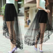 Women Gauze See-Through Mesh Tulle Lace Floral Bodycon Long Maxi Skirt Dress UK