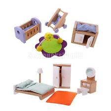 Xmas Gift Wooden Doll House Miniature Children Bedroom Furniture Set Toys