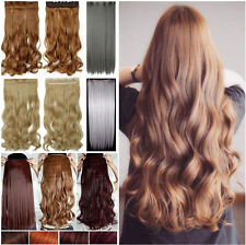 New Long on 1 PIECE Straight Curly Real Half Full Head Clip in Hair Extensions