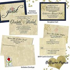 Beauty and the Beast Wedding Invitation Set Custom RSVP Envelope Personalized