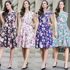50s Skater Swing Flared Tea Dress Ladies Prom Ball Evening Party Dress Plus Size