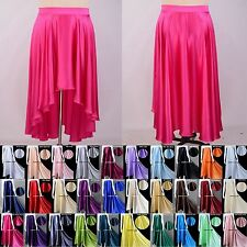 Womens Girls 16Momme 100% Pure Silk Full Circle Long Flare Maxi Skirt Front Mini