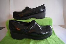 SKECHERS 38825 TONE UPS BLACK PATENT LEATHER CLOSED BACK CLOGS SIZE 10