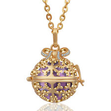Snowflake Bow-Knot Cystal Harmony Ball Mexican Bola Bell Necklace Pendant Chain